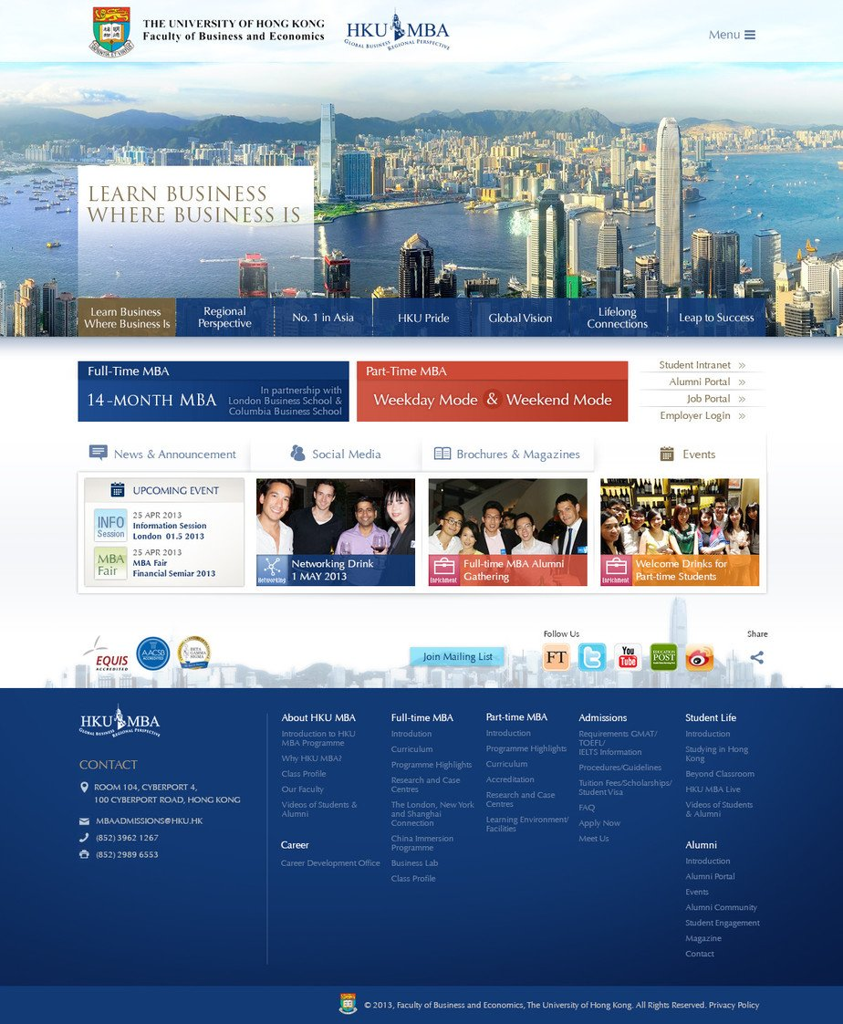 HKU MBA Programme Website - Projects - Work - Hong Kong Web