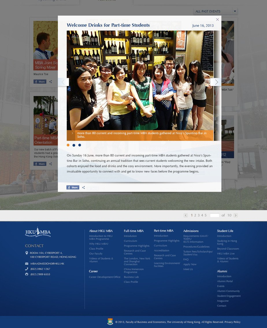 University of Hong Kong website screenshot for desktop version 7 of 8