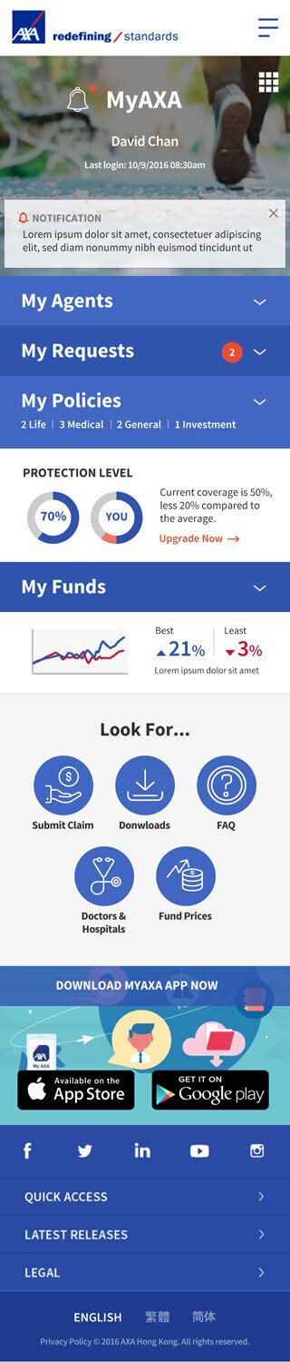 AXA website screenshot for mobile version 1 of 7