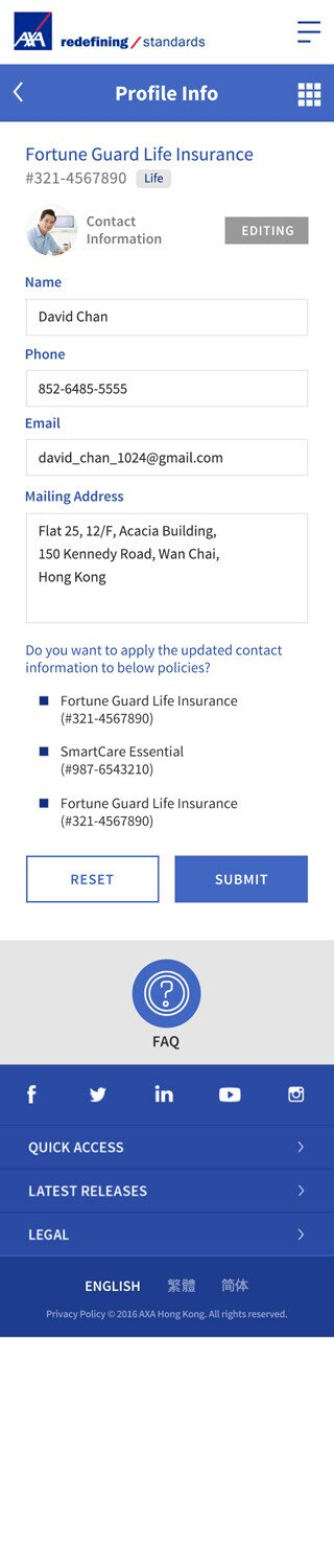AXA website screenshot for mobile version 3 of 7
