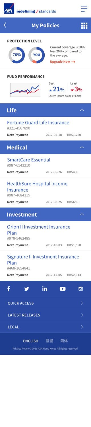 AXA website screenshot for mobile version 4 of 7