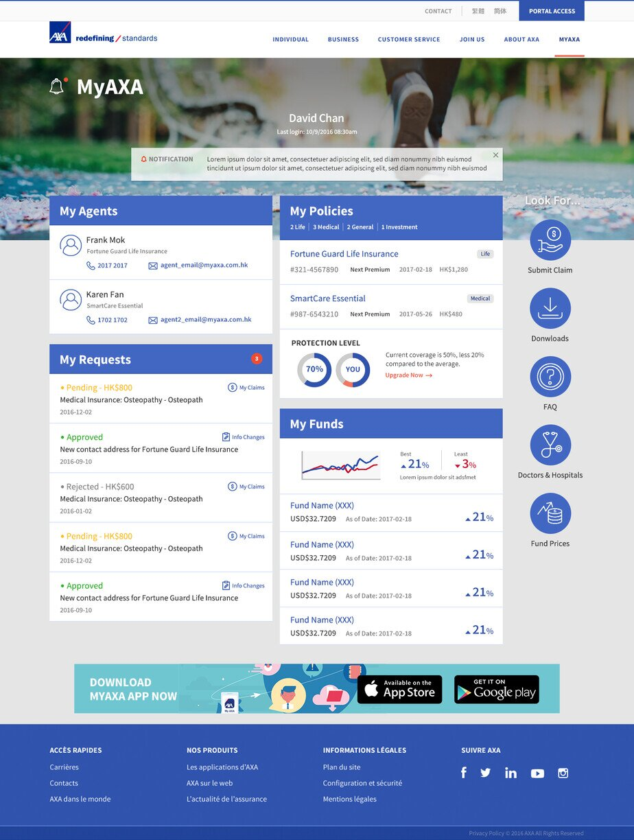 AXA website screenshot for desktop version 1 of 5