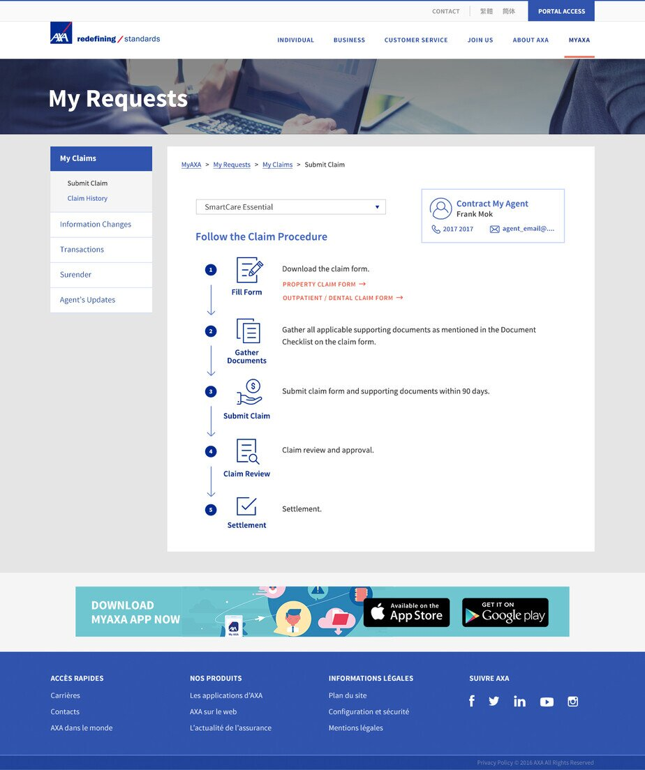 AXA website screenshot for desktop version 4 of 5