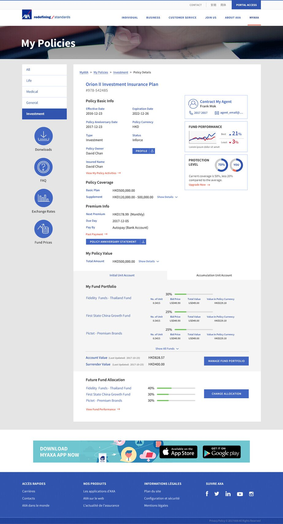 AXA website screenshot for desktop version 3 of 5